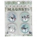 Pack de 4 magnets Hirondelles Rétro