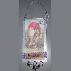 Plaque anglaise de Pâques trois lapins