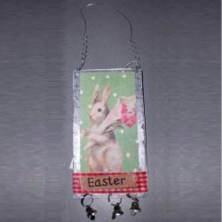 Plaque anglaise de Pâques 2 lapins et fleurs