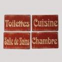 Set de 4 mini plaques de rues rouges