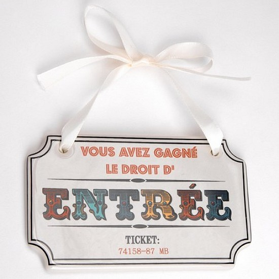 Plaque De Porte Conception En Faence Faon Ticket Gagnant