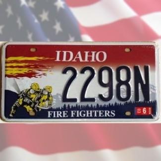 Plaque Immatriculation Idaho Hommage aux pompiers