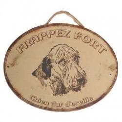 Plaque Frappez Fort Chien Sourd