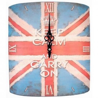 Horloge Keep Calm And Carry On Fond UK