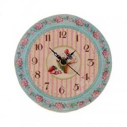 Horloge florale rayures gâteau fraise