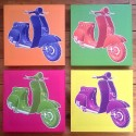Quatre cadres scooters colors