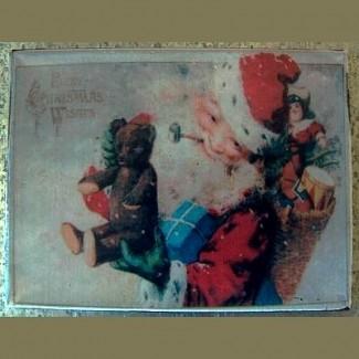 Magnet rétro Papa Noël et sa hotte de cadeaux
