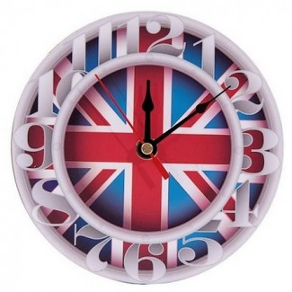 Horloge ronde drapeau UK