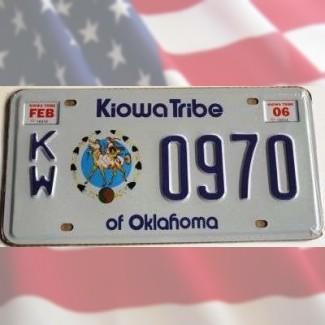 Reproduction plaque immat. Oklahoma Kiowa