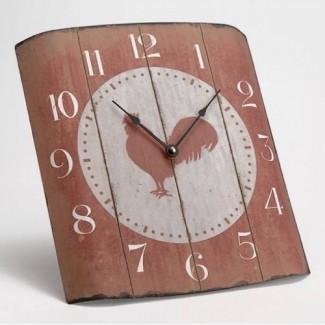 Horloge bombée coq rouge