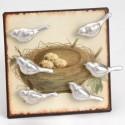 Plaque Nid et 6 Magnets Oiseaux