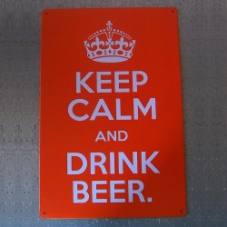 "Plaque orange ""Keep calm and drink beer"""