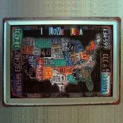 Plaque embossée '' I Love USA - License Plates ''