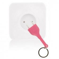 Porte-clés prise courant rose avec socle 2