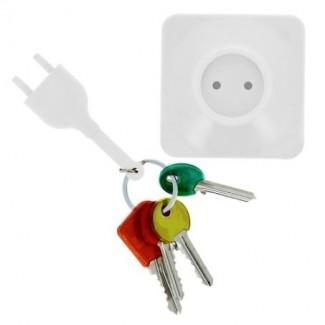 Porte-clés Prise Blanche & Support avec Adhésif 3