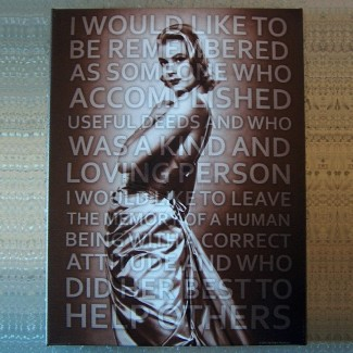 Toile imprimée Grace Kelly et Citation