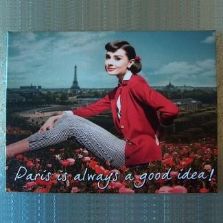 Toile imprimée tendue Audrey Hepburn Paris