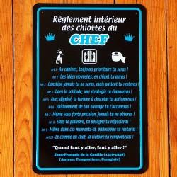 Plaque Règlement des Chiottes du Chef