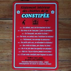Plaque règlement cabinet de la constipée
