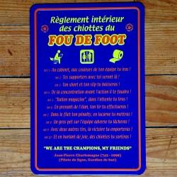 Plaque Règlement des Chiottes du Fou de Foot