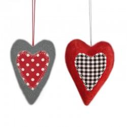 Coeurs décoratifs alpins rouge et gris