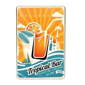 Plaque métal Tropical Bar