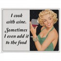 Plaque rétro - I Cook With Wine