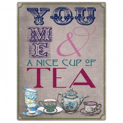Plaque anglaise en métal - You, me and Tea
