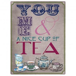 Plaque anglaise en métal - You, me and Tea
