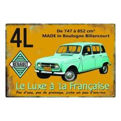 Plaque métal Renault 4L
