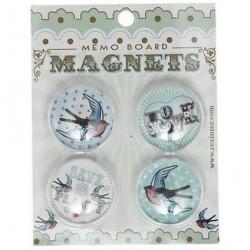 Pack de 4 magnets Hirondelles Vintage