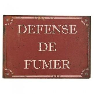 Plaque rouge ''Défense de fumer''