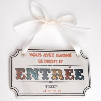 Plaque de porte Ticket d'entrée cirque