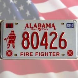Plaque Immatriculation Alabama Pompiers