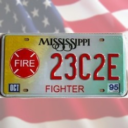 Plaque Immatriculation Mississippi Fire Fighters