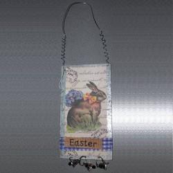 Plaque anglaise de Pâques 5 Lapin Noeud