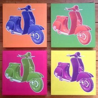 Quatre cadres scooters colors pop art