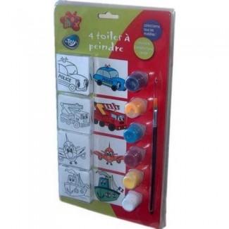 Kit 4 toiles à peindre Transport Enfants