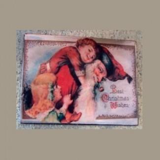 Aimant Deux fillettes à Noël