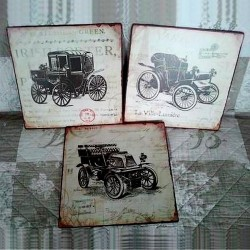 Trio plaques métal Voitures Anciennes 1