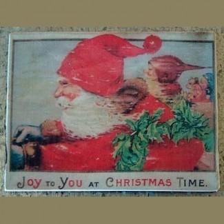 Magnet rétro Père Noël à toute vitesse