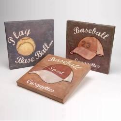 Trois tableaux peints main baseball