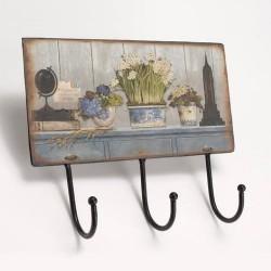 Patère 3 crochets Vases Fleuris