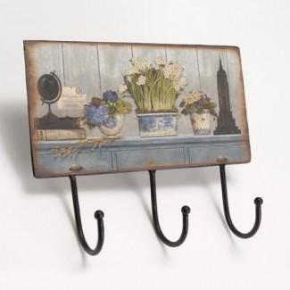 Patère trois crochets vases fleuris