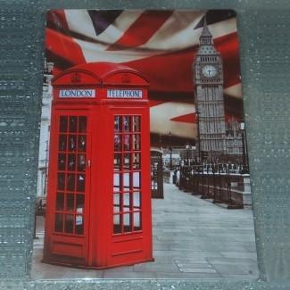 Plaque métal Phone and Union Jack