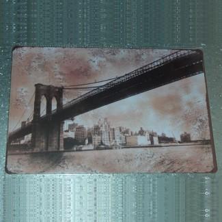 Plaque métallique Pont de Brooklyn NYC