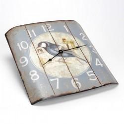 Horloge bombée vieillie ''Bel Oiseau''