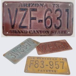 Plaque usée immatriculation rouge Arizona