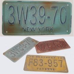 Plaque Vieillie Immatriculation Bleue New York