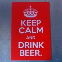 """Plaque rouge """"Keep calm and drink beer"""""""